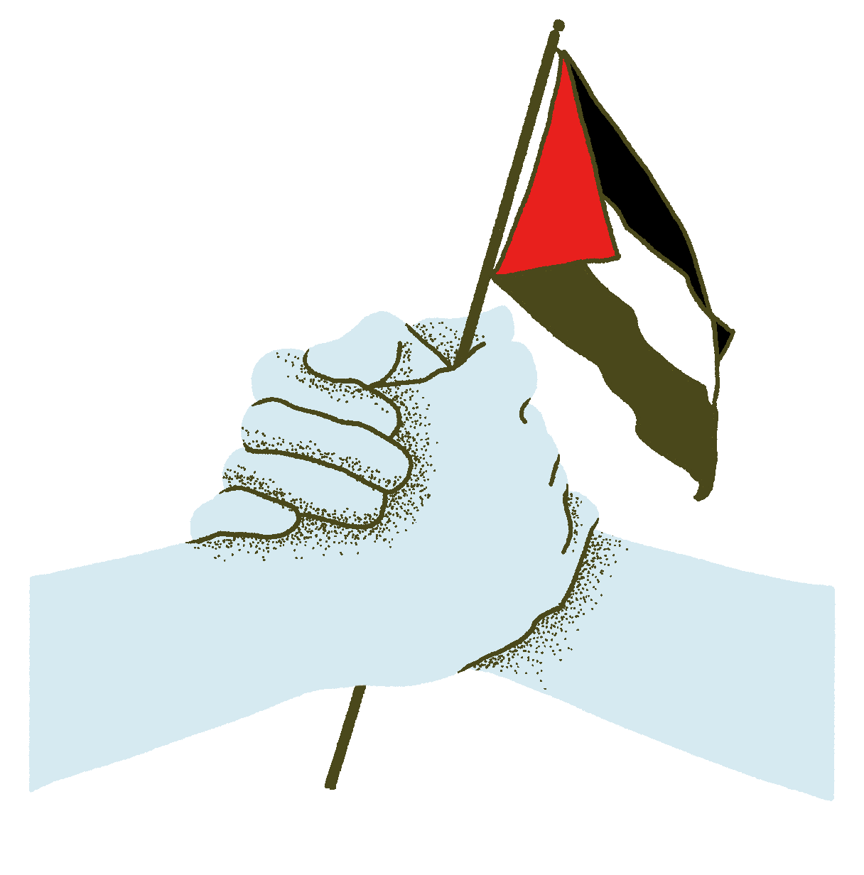Two hands clasped, holding a Palestinian flag.